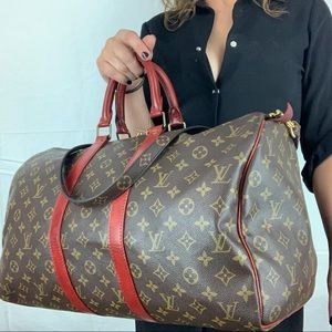 LOUIS VUITTON Vintage Keepall 50 dyed Red